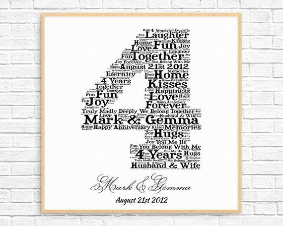 4 Wedding Anniversary Gift: PERSONALIZED 4th ANNIVERSARY Gift Word Art Printable Art