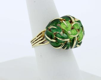 14K Yellow Gold Enamel Leaf Ring