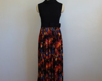 70s black top FLORAL SKIRT gown size medium