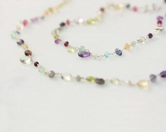 Long Gemstone Necklace, Multi Gem Necklace, Multi Color Necklace, Multi Gemstone Necklace, Semi Precious Stone Necklace, Gem Bead Necklace