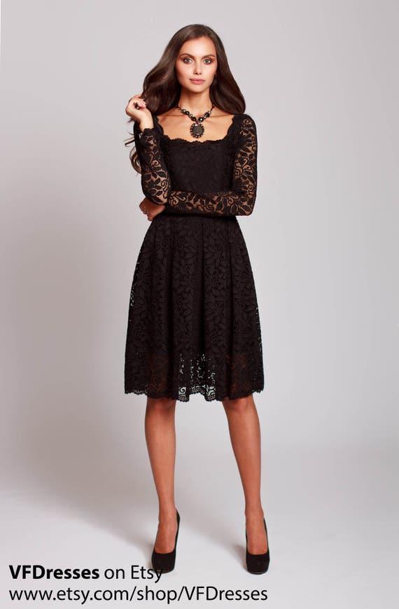 Spitze schwarzen Abendkleid schwarz Guipure-Kleid kurze