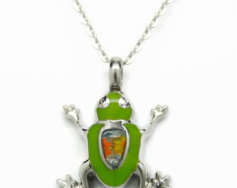 Green Murano Glass Frog Urn Necklace in Stainless Steel || Frog Ashes Keepsake