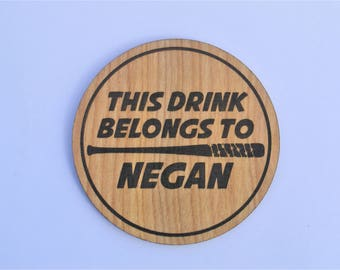 Negan's Drink - The Walking Dead Coaster Lucille Zombie Walkers