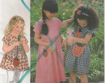 Dress Pattern Top Lady Bug Purse Pattern Girl's Size 2 - 3 - 4 Uncut Simplicity 9464