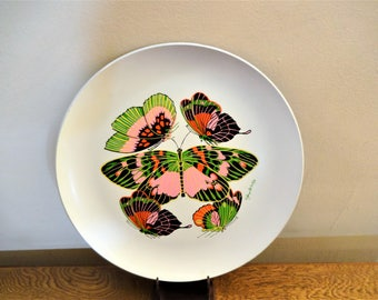 "Colorful Retro Georges Briard Melamine Butterfly Platter - 14"" - Mid Century Melmac Platter with Butterflies"