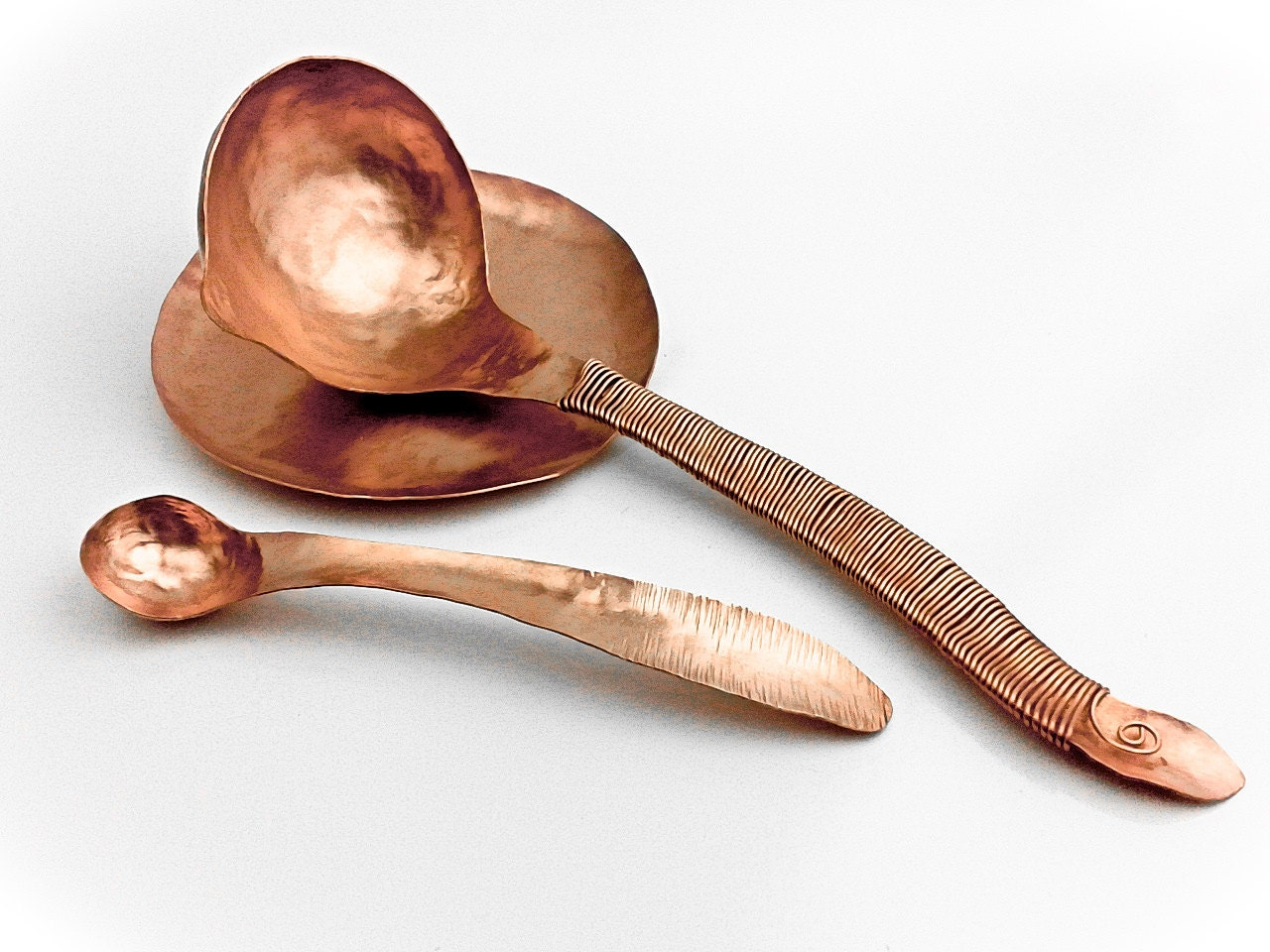 Hammered Copper Spoon Rest Saucer Featured In Magnolia