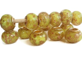 5 Yellow-green Beads, Handmade Lampwork European  Rondelle Style Beads, Jewelry making Supply, with goldsand