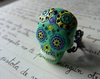 Green Day Of The Dead Mexican Skull Ring Kawaii - Black / White Metallic Adjustable Filigree Band