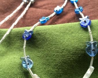 Blue gradient glass fish necklace
