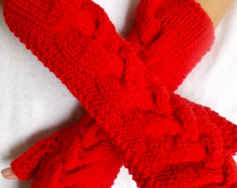 Fingerless Gloves Knit Arm Warmers Red Cabled Hand Knitted Soft and Warm