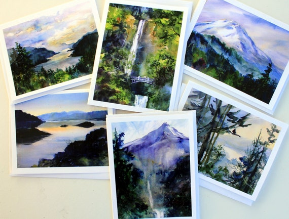 Multnomah Falls 4 - assorted note cards - blank note cards - pacific northwest - Mt Hood cards - pacific northwest cards - Colubmia Gorge