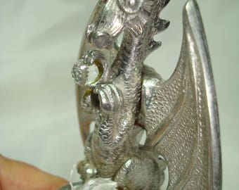 1986 Grand Dragon Lamp by Leo Hunter in Pewter with Crystal Ball.