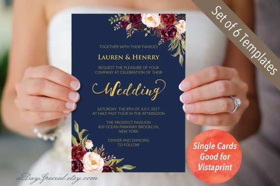Double Sided Navy Wedding Invitation Set Templates - Wedding invitation set templates