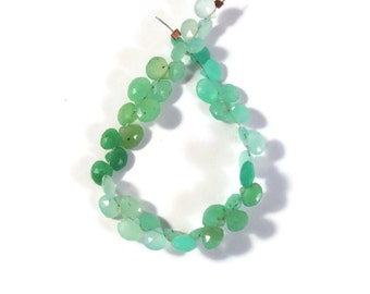 Natural Chrysoprase Briolettes, Shaded Green Hearts, 35 Small Faceted Teardrops, 5x5mm - 6x6mm, Jewelry Supplies (B-Ch3a)