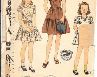 Simplicity MW401  Sewing Pattern 1930's Girls Dress Size 4   ID560