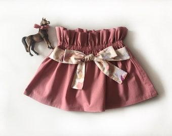 All Seasons Paperbag Skirt ~ Dusty Rose ~ Sz 1 - 5