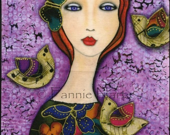 "Violet Eyes, Fabric Panel, 6"" x 6"""