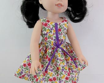 "Doll Dress for 14.5"" Doll Floral Sleeveless Dress Fits Wellie Wishers and Similar Dolls"
