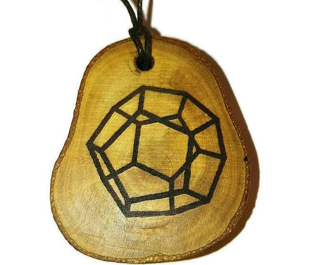 Dodecahedron Bespoke Necklace Handmade Wood Engraved Charm Pendant Gift or  Keyring