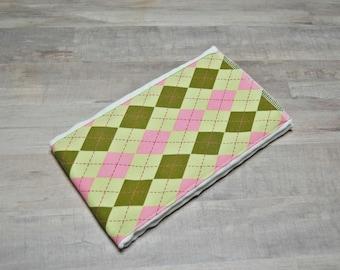 Pink & Green Argyle Burp Rag- Ready to Ship