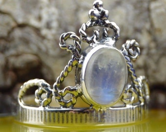 Oval Moonstone in a sterling silver tiara style band size 7.75