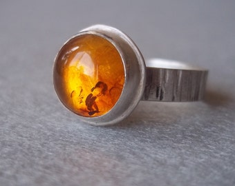 Large Baltic Amber Ring - Sterling and Fine Silver - Made to Order in Your Size