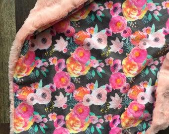 Watercolor Pink Floral Blanket