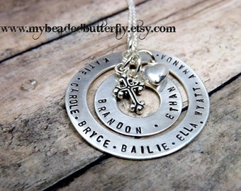 mommy necklace-grandmother necklace-personalized necklace-silver washer necklace-gift for mom-gift for grandma nana