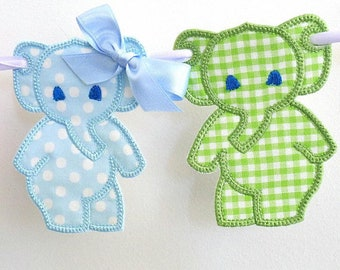 Baby elephant dance Embroidery fabric Banner