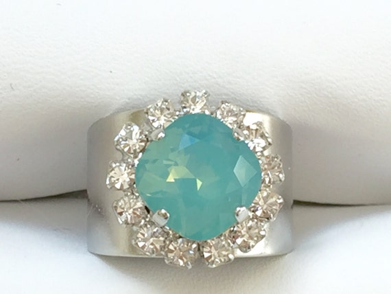 Pacific Opal and Clear Crystal Ring