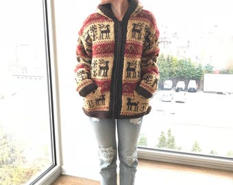 BLYTHE Nepalese Sherpa Hooded and Lined Wool Parka, Reindeer Pattern
