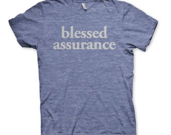 Blessed Assurance Tee-Blue Heather
