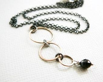 Black Diamond Necklace, 14kt Gold Pendant Oxidized Sterling Silver Genuine Diamonds Antiqued