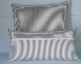 Gray and white striped canvas pillow