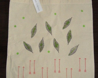 Handpainted leaf and arrow tote bag, 100 % cotton