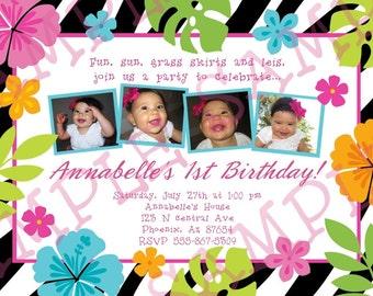 Custom Summer Luau Birthday Party Invitation