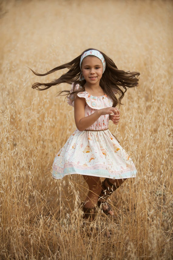 Girls Southwest Dress - Feather Print Dress - TeePee Dress - Off The Shouler Dress