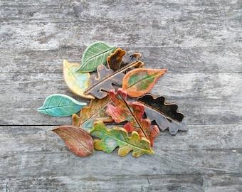 Autumn leaf ceramic brooch, Autumn colours, ceramic brooch pin