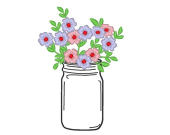 Mason jar with flowers silhouette embroidery design simply summer flower bouquet