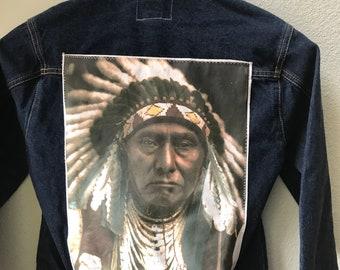 Adult Denim Vintage Native American Jean Jacket with Chief Joseph appliques - Size 14/16 Kids,Teen Denim Jacket Tribal Denim Jacket