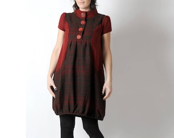 Red and brown wool dress, Short-sleeved red bubble dress, Warm wool womens dresses, Womens clothing, Fall fashion MALAM, size FR UK 8-10