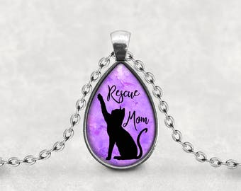 Cat Rescue Mom Pendant, Gift For Cat Mom Necklace, Key Ring, Cabochon Lucas