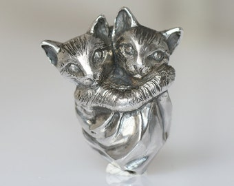 Pendant Sterling Silver, Cats, Two cats in a pouch hugging, handmade