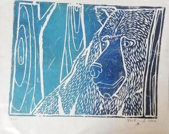 Woodblock Bear Artist Print