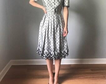 vintage 50s dress | 50s polka dot dress | grey & black dress | puff sleeve dress