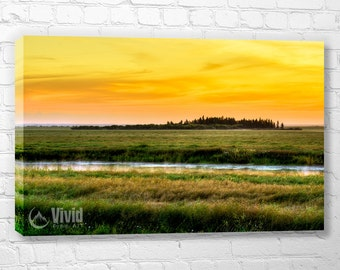 Prairie canvas wall art, sunrise pictures, plains at dawn, bedroom wall decor, ready to hang, living room wall, art gift, orange pictures
