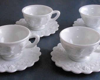 4 Vintage Milk Glass Paneled Grape Cup and Saucer Sets Westmoreland