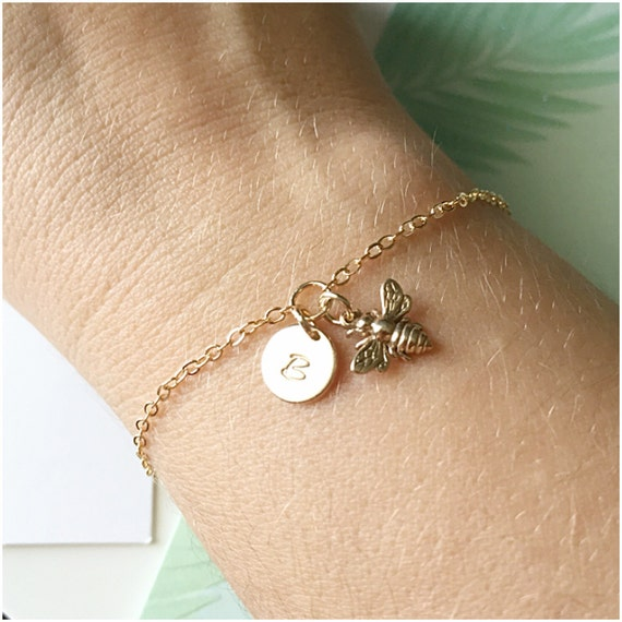 Personalized Bumble Bee Jewelry Gold Bumblebee Bracelet