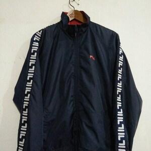 Sale Rare Vintage 90s Fila Full Logo Windbreaker Jacket Sweater Size S/Hip Hop/Rap/Swag/Gangsta/Casual/Streetwear/Hypebeast