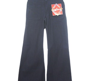 33W/36L - Mens Navy Bellbottom Jeans Pants - New/Old Vintage Deadstock! GzLJJKzZ